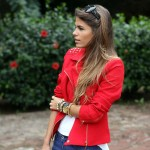 Red studded jacket