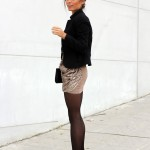 Nude Sequined Skirt
