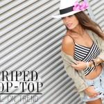 striped crop-top