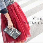 Wine tulle skirt