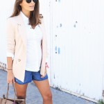 working outfit : denim shorts & nude blazer