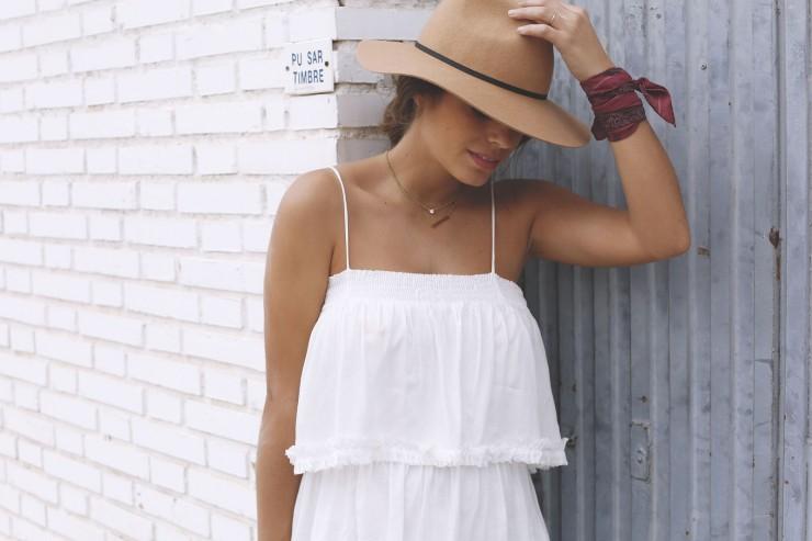 Boho midi white dress