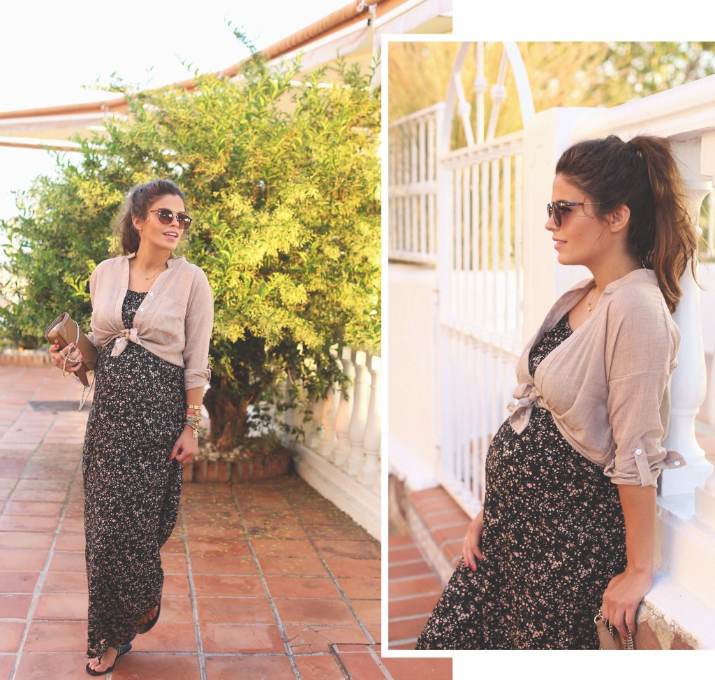 1. folk print long dress - jessie chanes - pregnancy