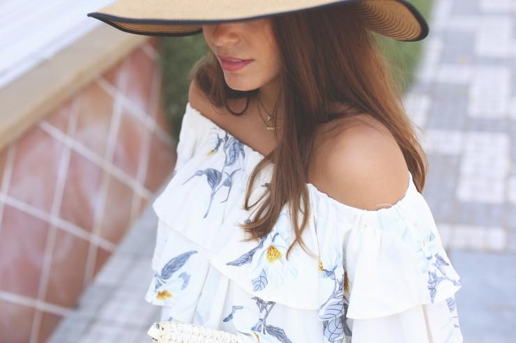 floral off-shoulders dress