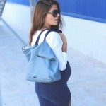 blue long pencil skirt
