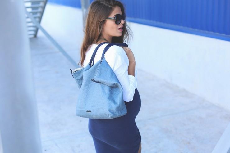 blue long pencil skirt