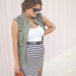 striped pencil skirt