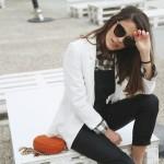 white blazer x black overall