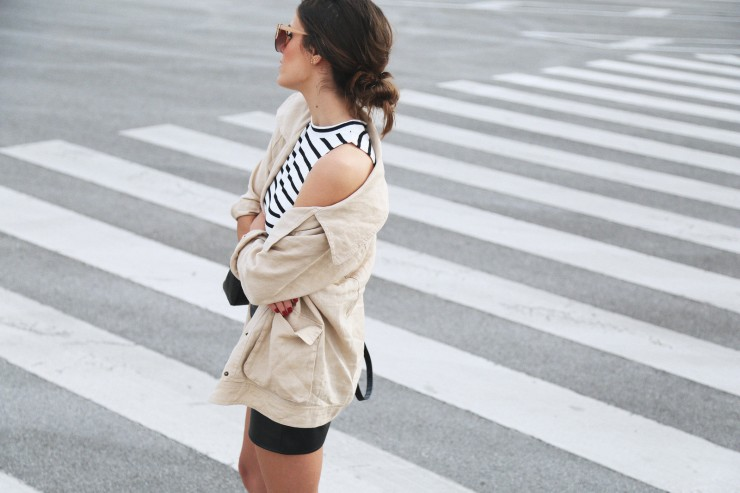 striped top x leather skirt