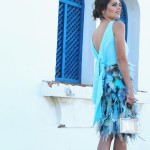 blue feathers cocktail dress