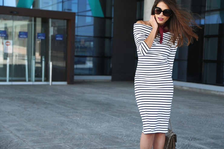 midi striped dress
