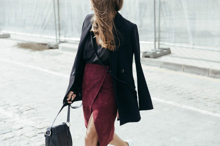 burgundy midi skirt
