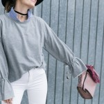 flared sleeves sweatshirt