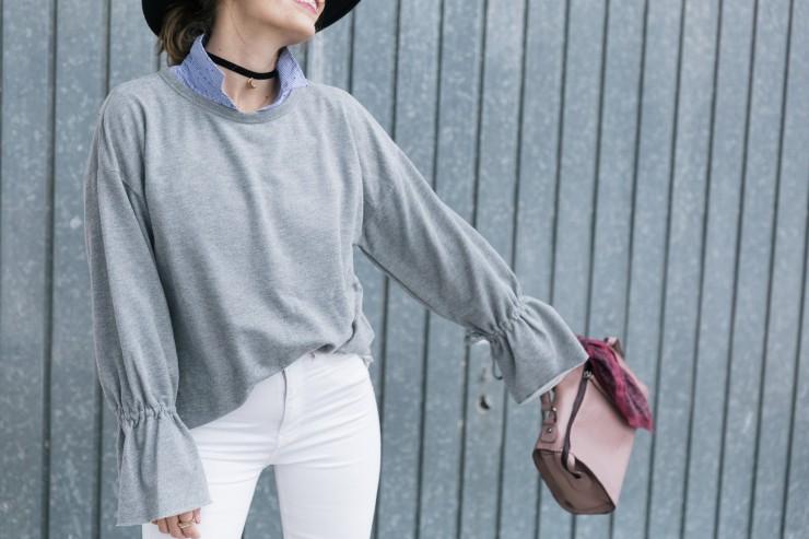 flared sleeves sweatshirt