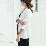 White blazer & pinstriped jumpsuit