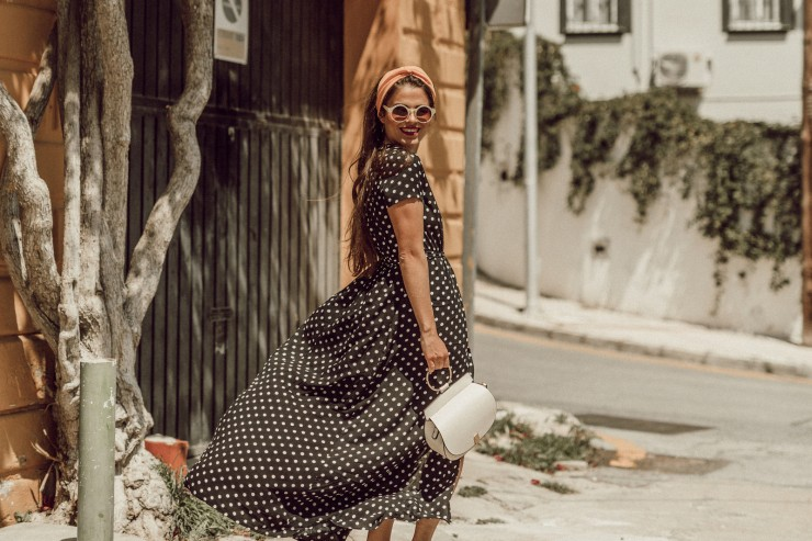 How to wear a long dotted dress
